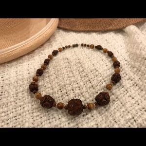 Jewelry - Vtg Carved and turned wood bead necklace